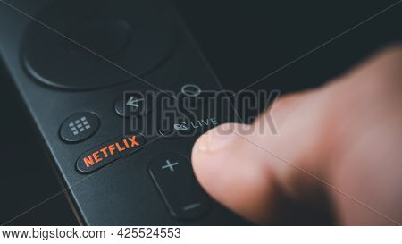 Smuthprakarn / Thailand - June 5 2021: Detail Of Remote Control With A Netflix Button. Netflix Is An