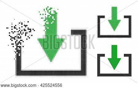 Destructed Pixelated Download Icon With Halftone Version. Vector Destruction Effect For Download Ico