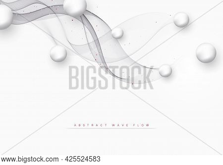 Abstract Gray Wavy Background Wave Gray Flow Element