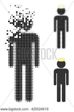 Dispersed Dot Holy Man Figure Icon With Halftone Version. Vector Destruction Effect For Holy Man Fig
