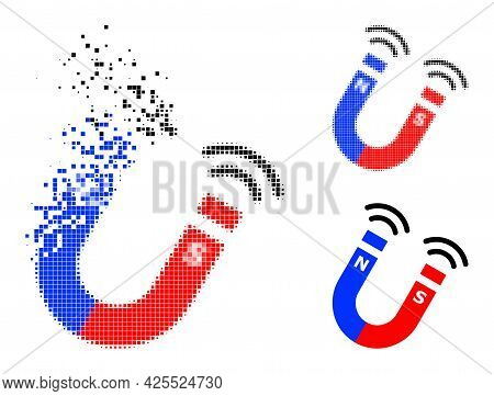 Disintegrating Pixelated Magnet Field Pictogram With Halftone Version. Vector Destruction Effect For