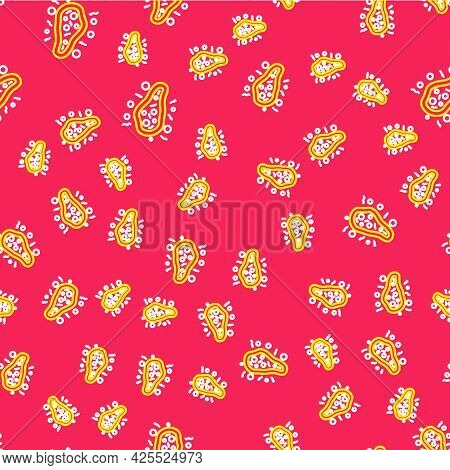 Line Bacteria Icon Isolated Seamless Pattern On Red Background. Bacteria And Germs, Microorganism Di