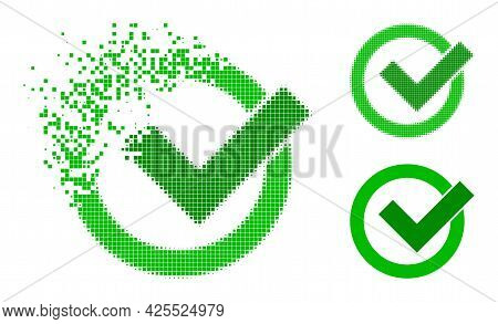 Shredded Dotted Validation Pictogram With Halftone Version. Vector Wind Effect For Validation Icon.
