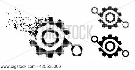 Shredded Dot Gear Project Pictogram With Halftone Version. Vector Destruction Effect For Gear Projec