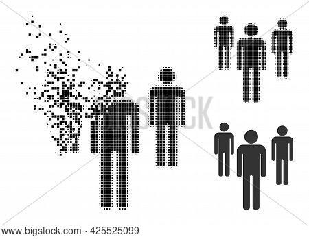 Fragmented Dot Men Figures Icon With Halftone Version. Vector Destruction Effect For Men Figures Sym