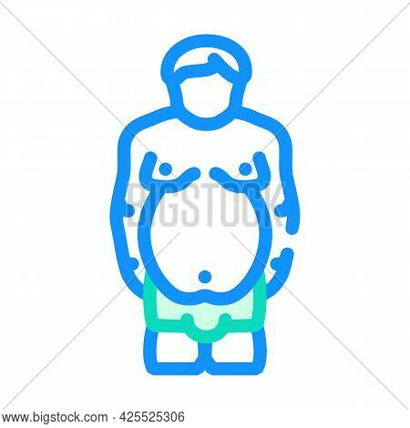 Overweight Prople Color Icon Vector. Overweight Prople Sign. Isolated Symbol Illustration