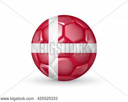 3d Soccer Ball With The Denmark National Flag. Danish National Football Team Concept. Isolated On Wh