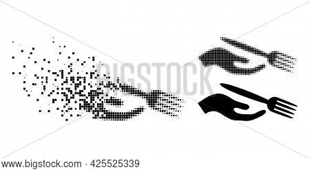Shredded Dotted Dining Etiquette Pictogram With Halftone Version. Vector Wind Effect For Dining Etiq