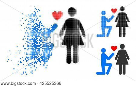 Damaged Dotted Engagement Persons Pictogram With Halftone Version. Vector Wind Effect For Engagement