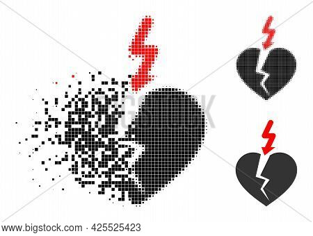 Damaged Pixelated Break Heart Icon With Halftone Version. Vector Wind Effect For Break Heart Pictogr