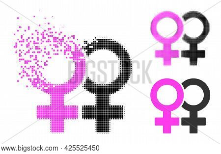 Disintegrating Dotted Lesbian Couple Symbol Pictogram With Halftone Version. Vector Wind Effect For