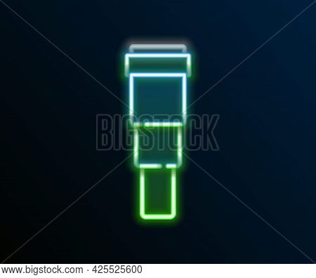 Glowing Neon Line Spyglass Telescope Lens Icon Isolated On Black Background. Sailor Spyglass. Colorf