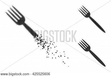 Decomposed Pixelated Fork Pictogram With Halftone Version. Vector Destruction Effect For Fork Icon.