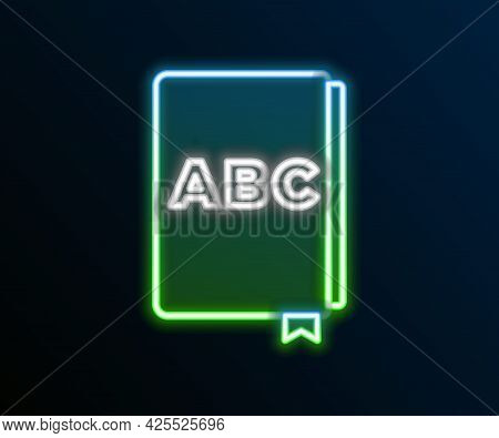 Glowing Neon Line Abc Book Icon Isolated On Black Background. Dictionary Book Sign. Alphabet Book Ic