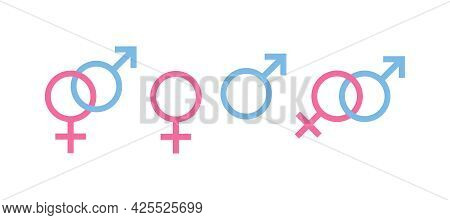 Set Of Colored Icons, Gender Sign Or Symbol. Pink Symbol Of Woman, Female. Blue Symbol Of Man, Male.