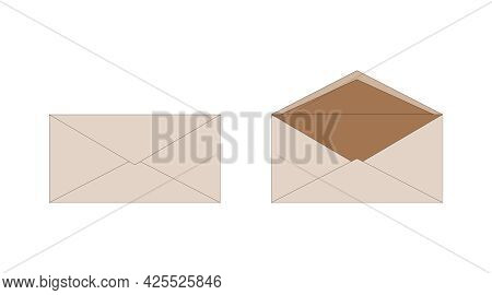 Ordinary Brown Paper Isolated Envelopes, Open And Closed. Delivery Of Correspondence In Envelope. Ca