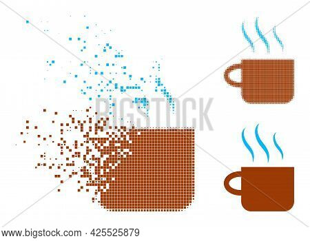Damaged Pixelated Hot Tea Cup Glyph With Halftone Version. Vector Destruction Effect For Hot Tea Cup