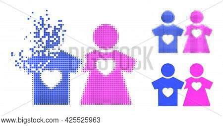 Fragmented Pixelated Lovers Persons Icon With Halftone Version. Vector Destruction Effect For Lovers