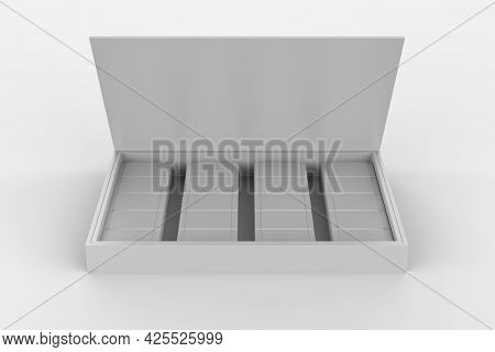 Box Of Chocolate Sweets Isolated On White Background. 3d Illustration