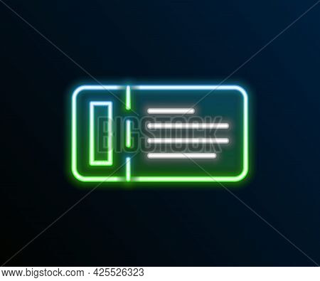 Glowing Neon Line Cruise Ticket For Traveling By Ship Icon Isolated On Black Background. Travel By C