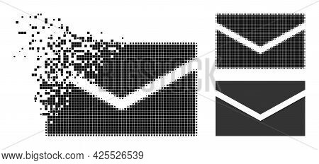 Fractured Pixelated Mail Icon With Halftone Version. Vector Wind Effect For Mail Icon. Pixel Dissolv