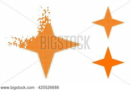 Dispersed Dot Space Star Glyph With Halftone Version. Vector Destruction Effect For Space Star Icon.