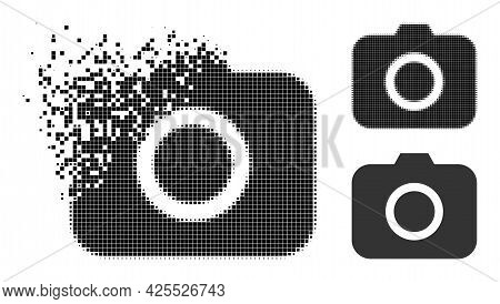 Disappearing Dot Photocamera Pictogram With Halftone Version. Vector Destruction Effect For Photocam