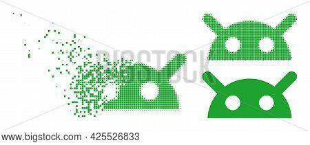 Broken Dot Robot Head Icon With Halftone Version. Vector Destruction Effect For Robot Head Icon. Pix