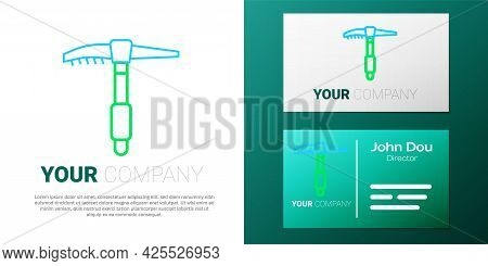 Line Ice Axe Icon Isolated On White Background. Montain Climbing Equipment. Colorful Outline Concept