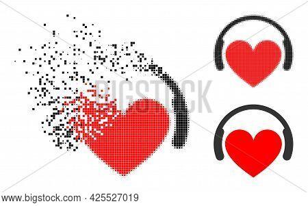 Erosion Pixelated Love Dj Icon With Halftone Version. Vector Wind Effect For Love Dj Icon. Pixelated