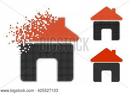 Dispersed Pixelated House Pictogram With Halftone Version. Vector Destruction Effect For House Picto