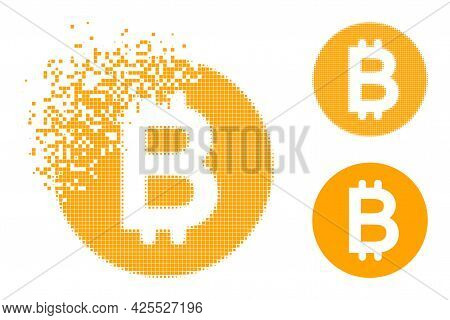 Shredded Pixelated Bitcoin Gold Coin Pictogram With Halftone Version. Vector Destruction Effect For