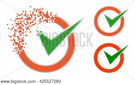 Fragmented Dot Checkbox Circle Icon With Halftone Version. Vector Wind Effect For Checkbox Circle Ic