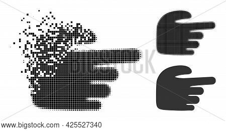 Destructed Dotted Right Index Finger Pictogram With Halftone Version. Vector Wind Effect For Right I
