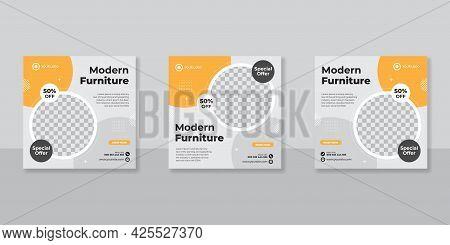 Modern Furniture Promotion Square Web Banner For Social Media Post Template. Elegant Sale And Discou