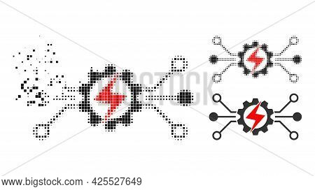 Disappearing Pixelated Energy Hitech Pictogram With Halftone Version. Vector Wind Effect For Energy