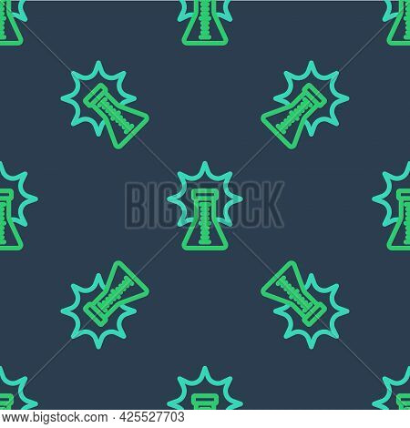 Line Chemical Experiment, Explosion In The Flask Icon Isolated Seamless Pattern On Blue Background.