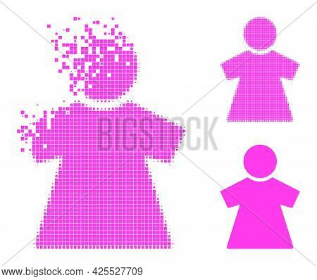 Disintegrating Pixelated Girl Icon With Halftone Version. Vector Destruction Effect For Girl Icon. P