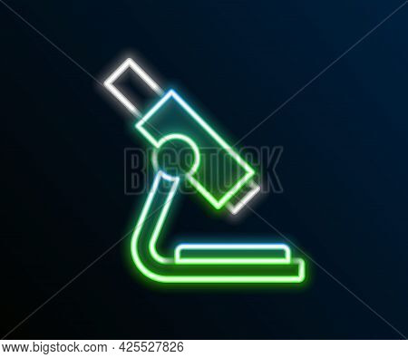 Glowing Neon Line Microscope Icon Isolated On Black Background. Chemistry, Pharmaceutical Instrument