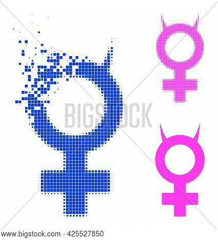 Disappearing Dot Devil Female Symbol Icon With Halftone Version. Vector Destruction Effect For Devil