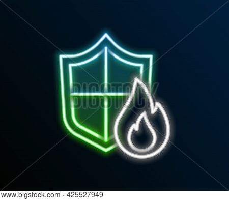 Glowing Neon Line Fire Protection Shield Icon Isolated On Black Background. Insurance Concept. Secur