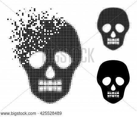 Dissolved Dot Skull Pictogram With Halftone Version. Vector Destruction Effect For Skull Pictogram.