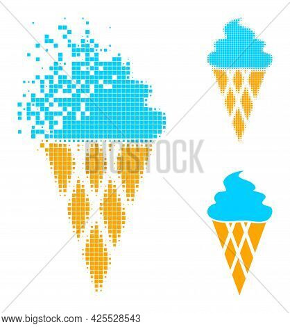Damaged Dotted Icecream Pictogram With Halftone Version. Vector Wind Effect For Icecream Pictogram.