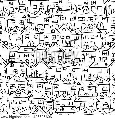 House Funny Doodle Pattern, Village Vector Illustration. Seamless Texture In Black And White Colors