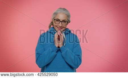 Cunning Sneaky Mature Granny Woman With Tricky Face Gesticulating And Scheming Evil Plan, Thinking O