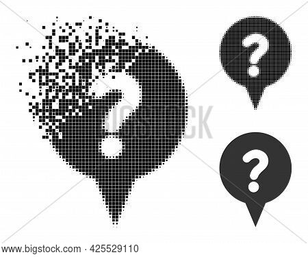 Dispersed Dotted Question Banner Pictogram With Halftone Version. Vector Wind Effect For Question Ba