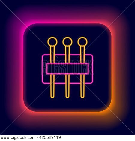 Glowing Neon Line Needle For Sewing Icon Isolated On Black Background. Tailor Symbol. Textile Sew Up