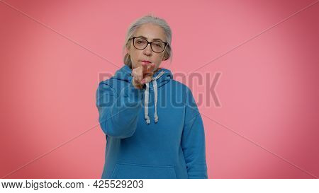 I Choose You. Senior Old Granny Woman Pointing To Camera And Looking With Playful Happy Expression,