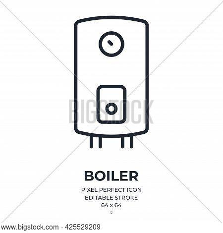 Boiler Editable Stroke Outline Icon Isolated On White Background Flat Vector Illustration. Pixel Per