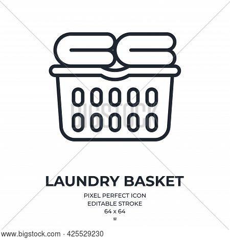 Laundry Basket Editable Stroke Outline Icon Isolated On White Background Flat Vector Illustration. P